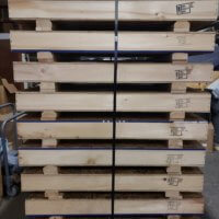 pallets showing Heat Treating stamp